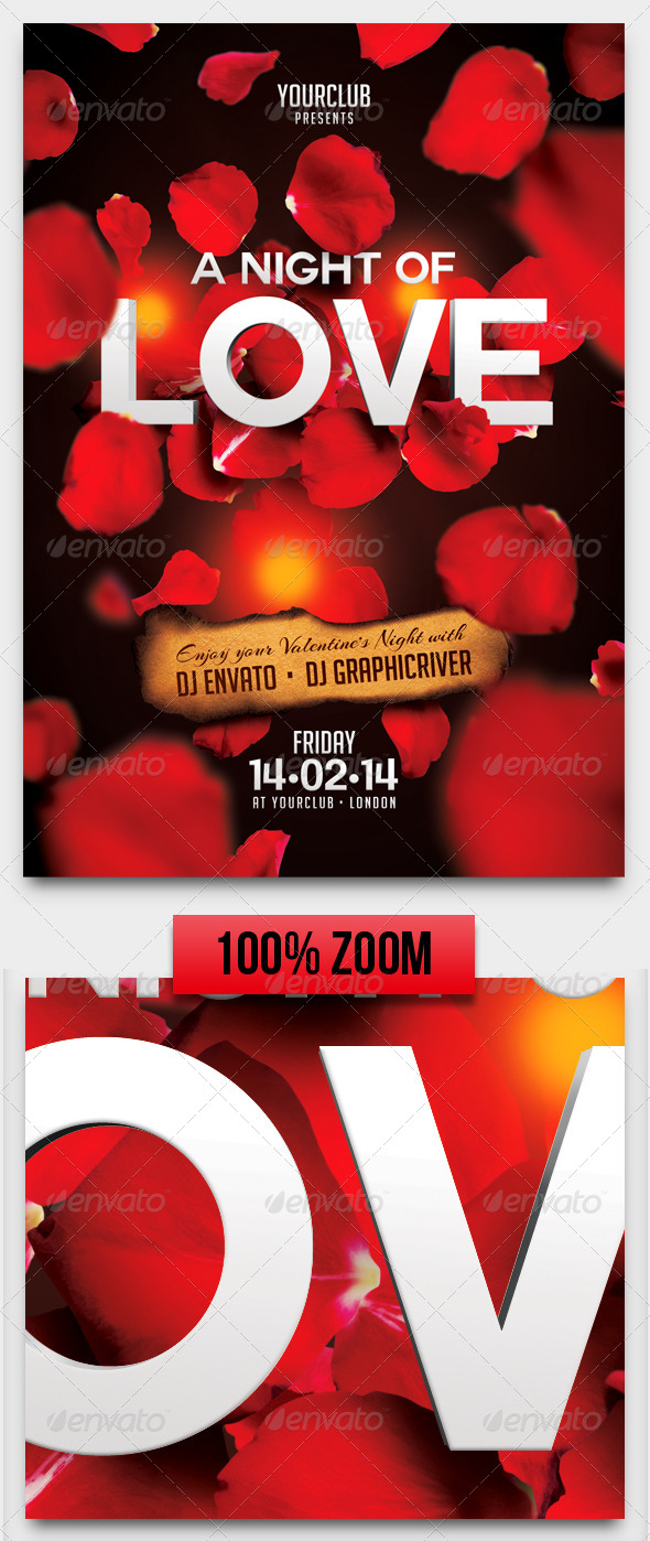 GraphicRiver A Night of Love A5 Flyer Template 6629445
