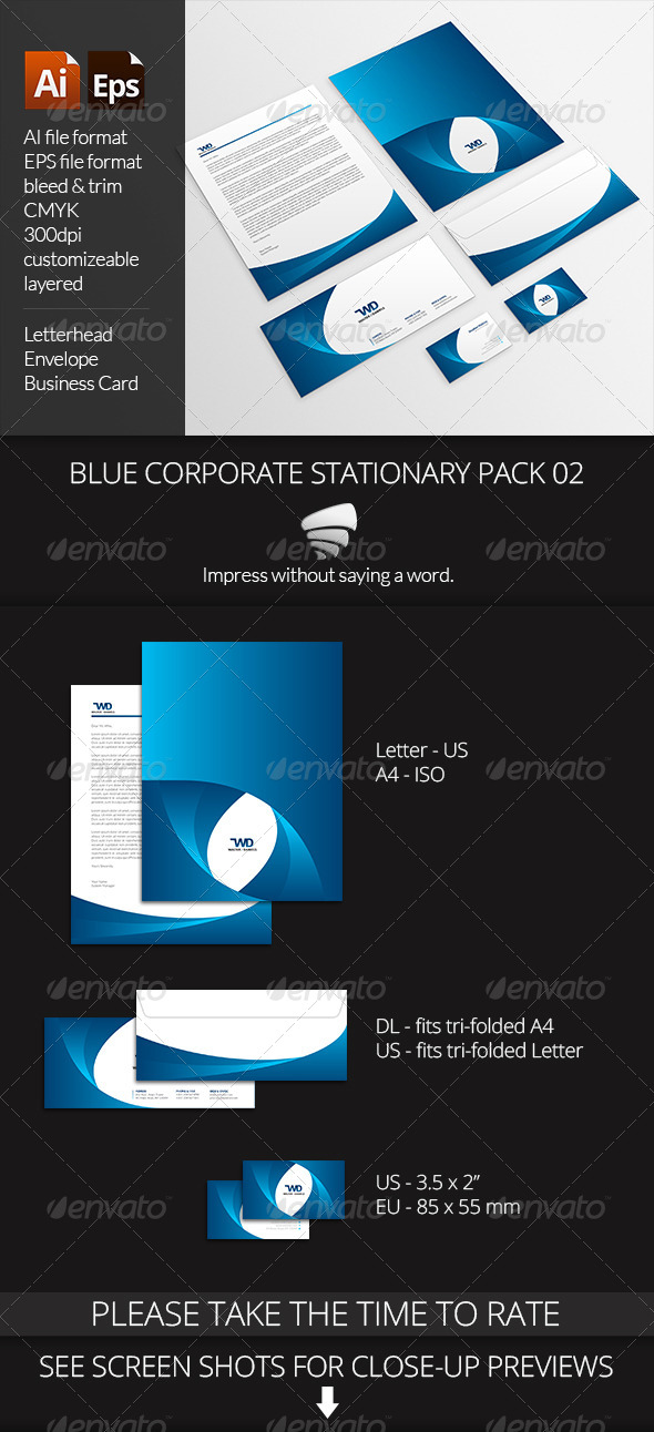 GraphicRiver Blue Corporate Stationary Pack 02 6629459
