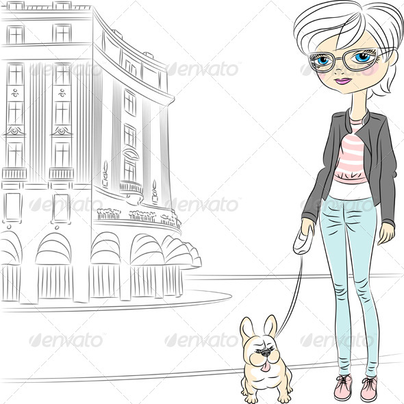 Girl with Dog - People Characters