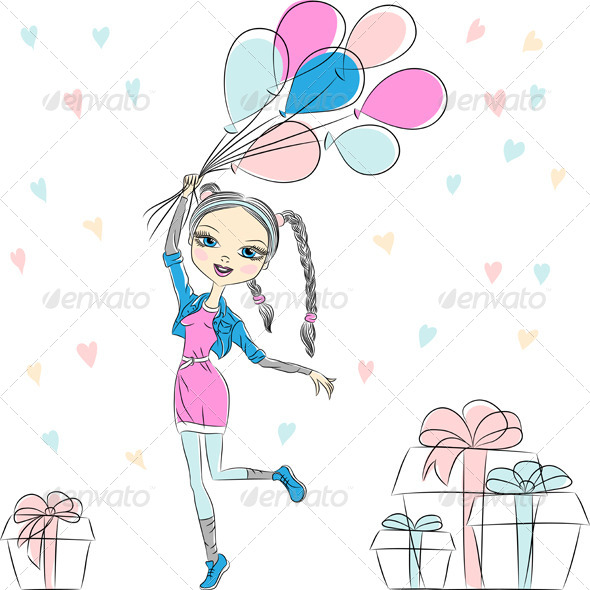 GraphicRiver Girl with Multi-Colored Balloons 6630140