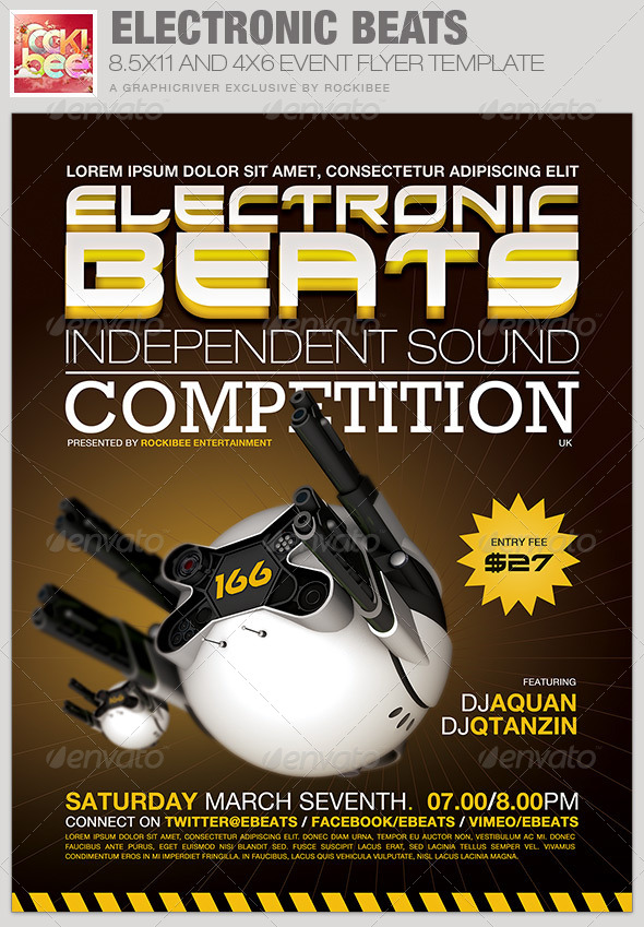 GraphicRiver Electronic Beats Event Flyer Template 6630174