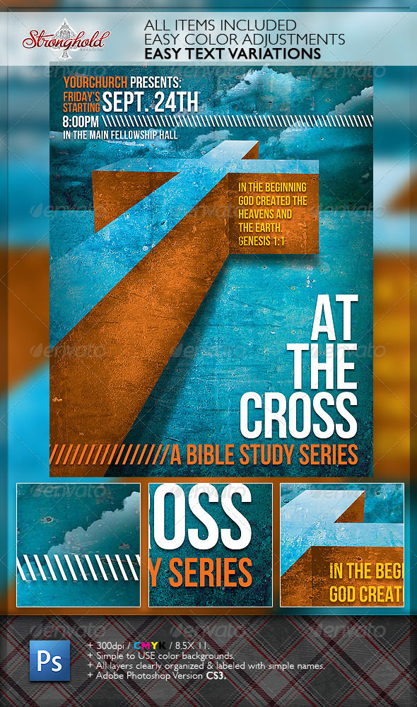 GraphicRiver At The Cross Bible Study Church Flyer Template 6630770