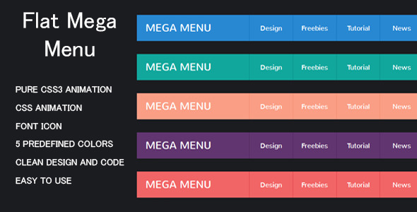 CSS3 Flat Mega Menu - CodeCanyon Item for Sale