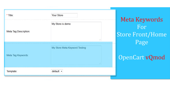 Meta Keywords For OpenCart Store Home Page - vQmod