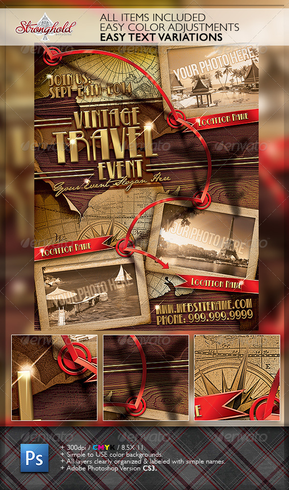GraphicRiver Vintage Travel Flyer Template 6632543