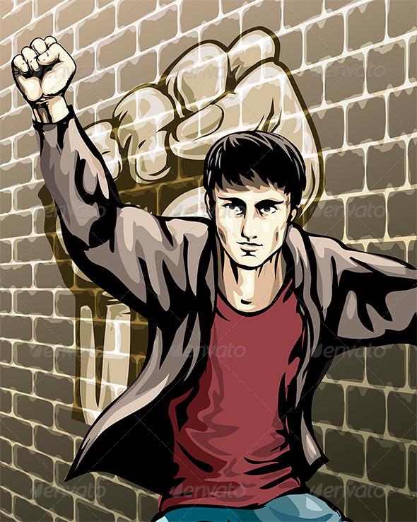 GraphicRiver Protesting Boy 6634005