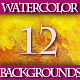 Set of 12 Colorful Watercolor Backgrounds, 1