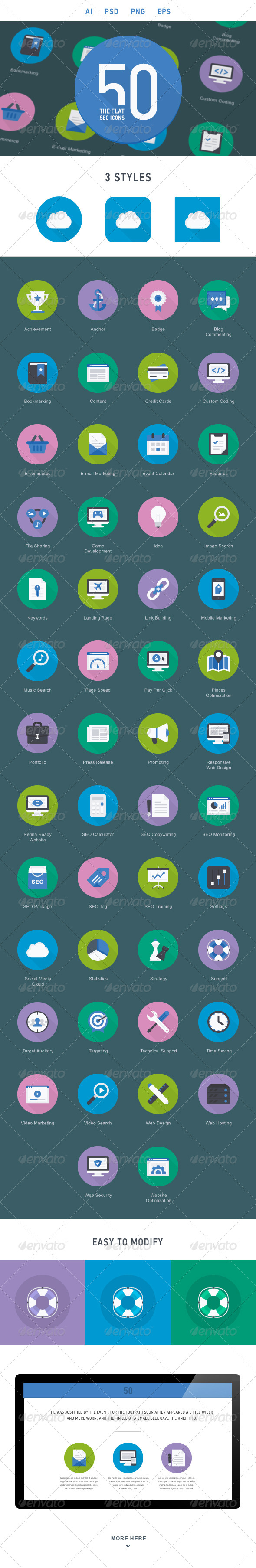 GraphicRiver The Flat SEO Icons 50 6635114