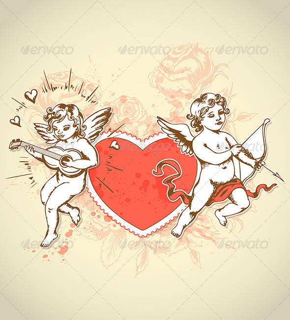 GraphicRiver Valentine Card with Cupids 6635129