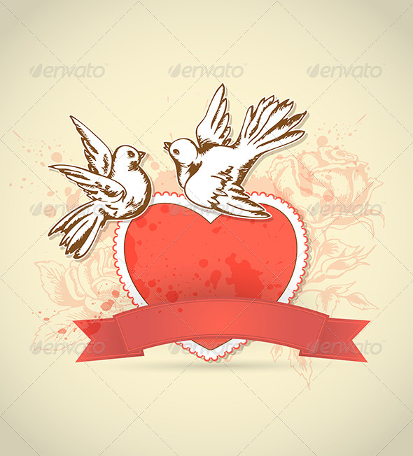 GraphicRiver Vintage Card with Red Heart and Dove 6635173