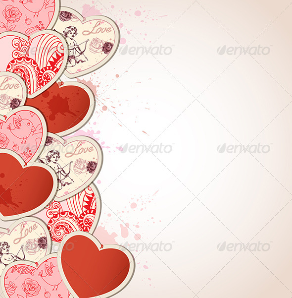 GraphicRiver Background with Hearts for Valentine s Day 6635311