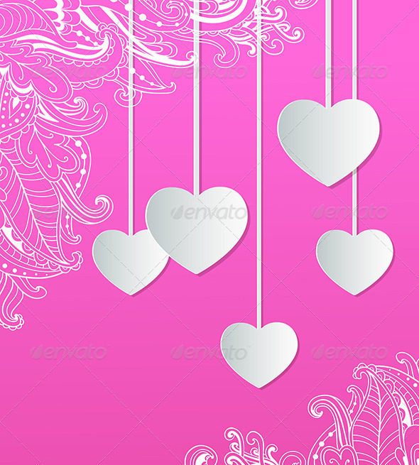 GraphicRiver Pink Background with Paper Hearts 6635648