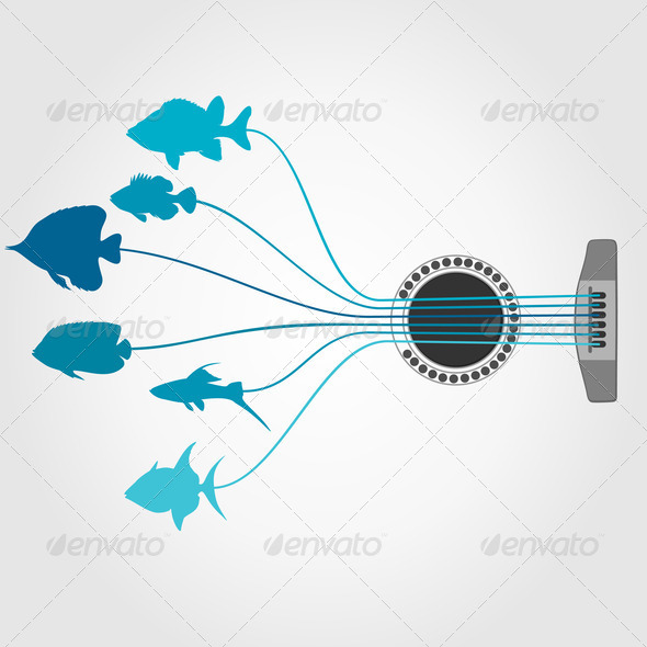 Fish a guitar - Stock Photo - Images