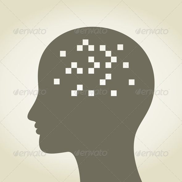 Pixel in a head - Stock Photo - Images