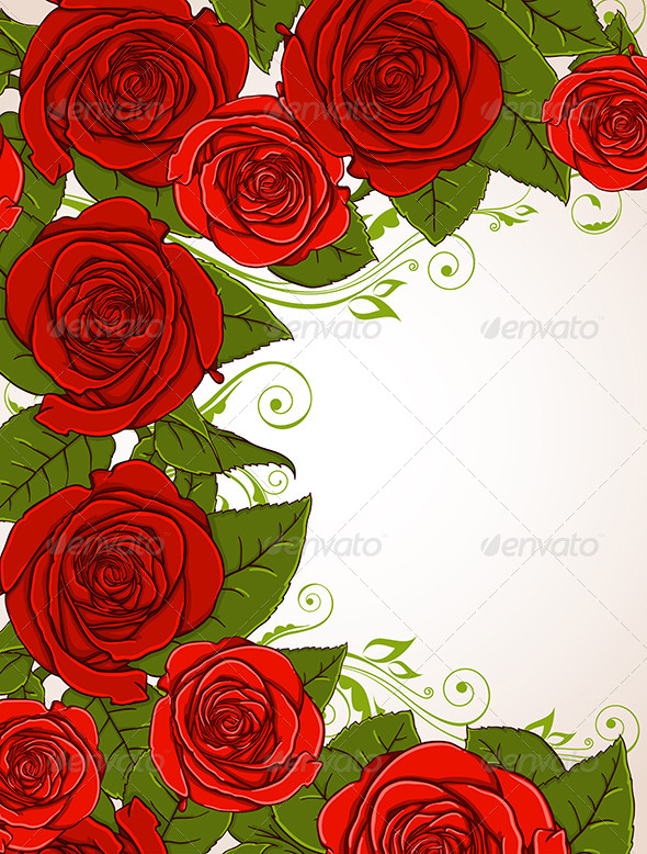 GraphicRiver Background with Red Roses 6635874