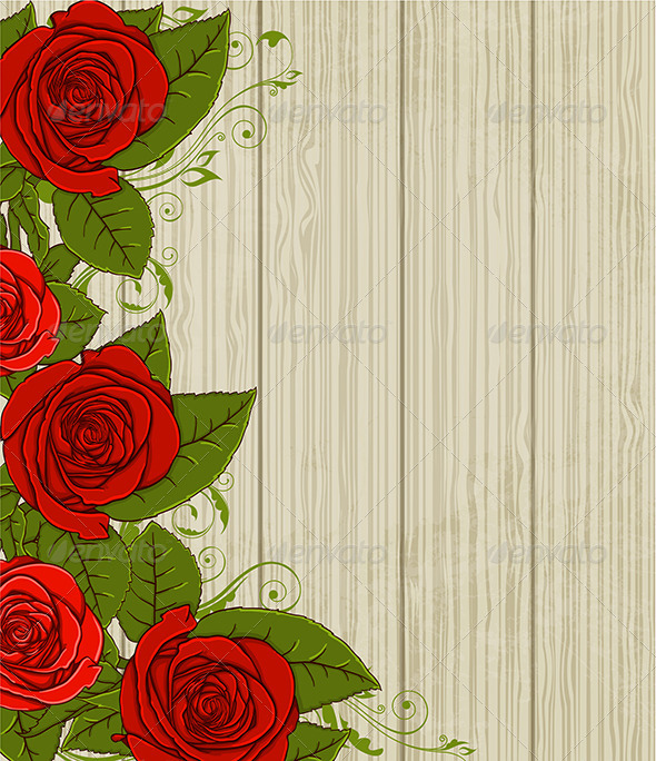 GraphicRiver Wooden Background with Red Roses 6636019