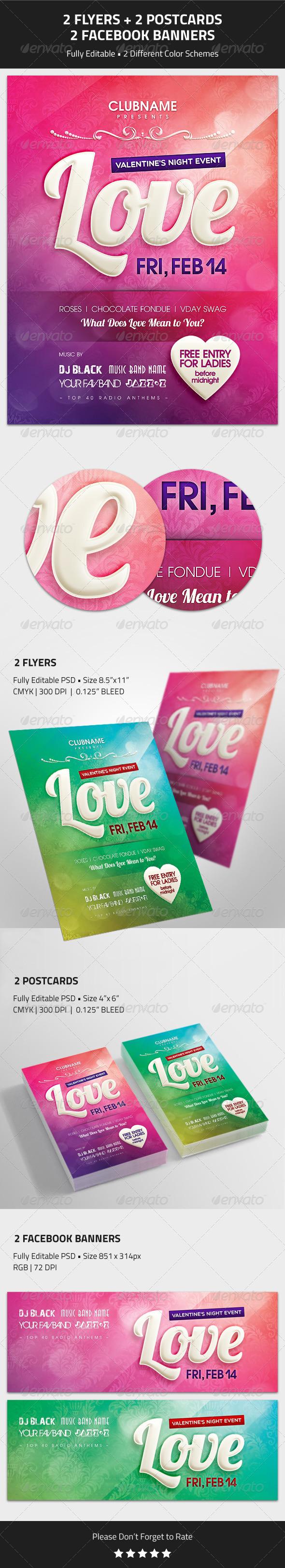 GraphicRiver Valentine s Day Event Flyer Postcard Banner 6622407