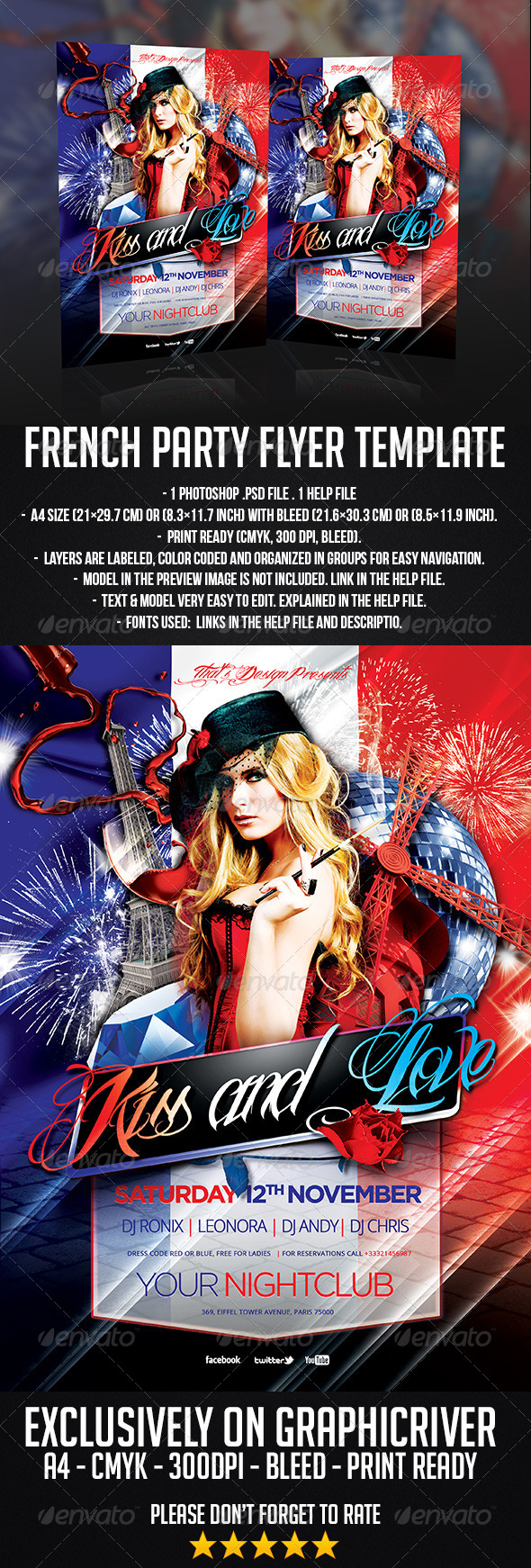 GraphicRiver French Party Flyer Template 6636785
