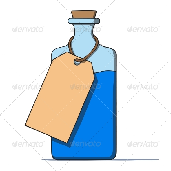 Cartoon Bottle with a Tag