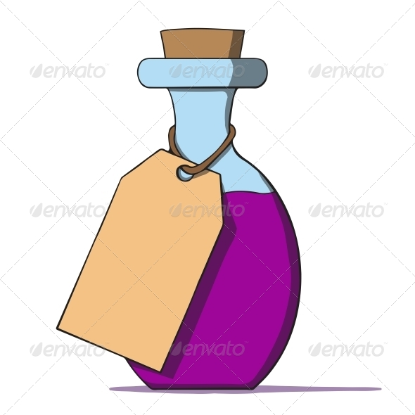 GraphicRiver Cartoon Bottle with a Tag 6636873