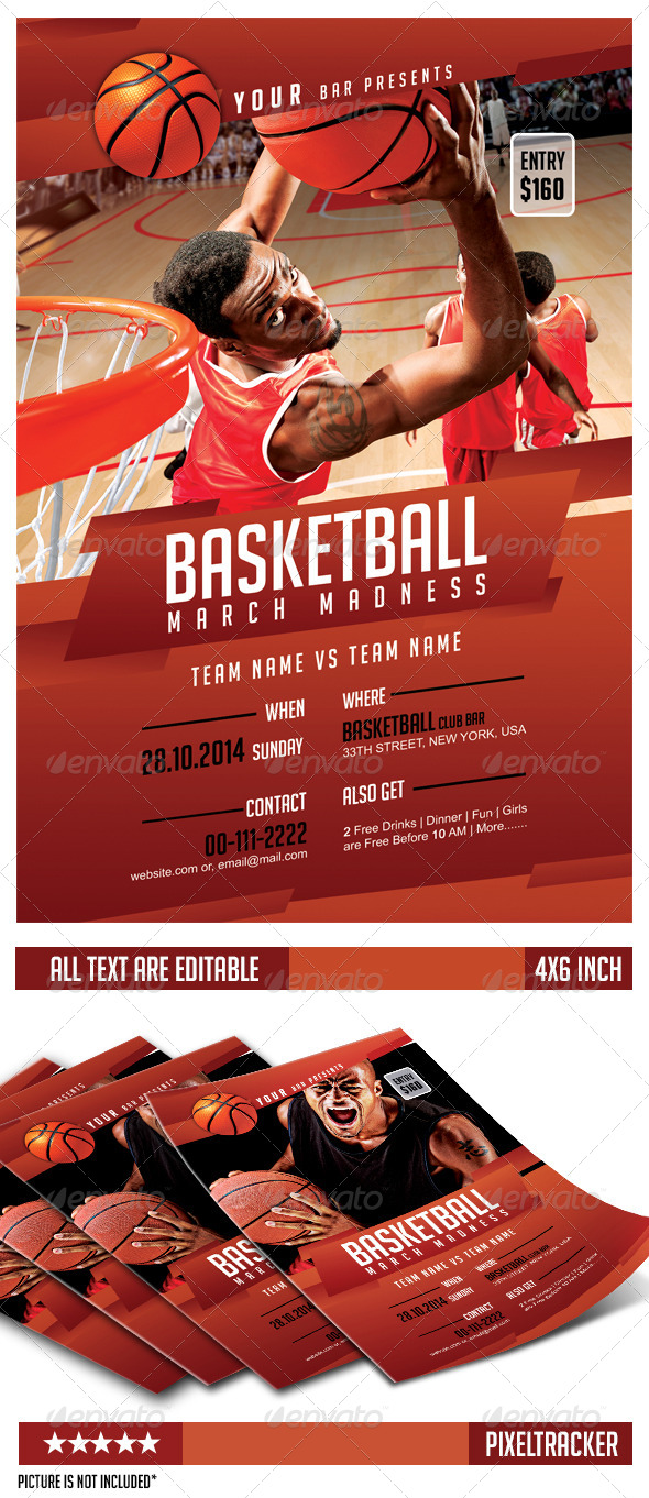 GraphicRiver Basketball March Madness Flyer Template 6637743