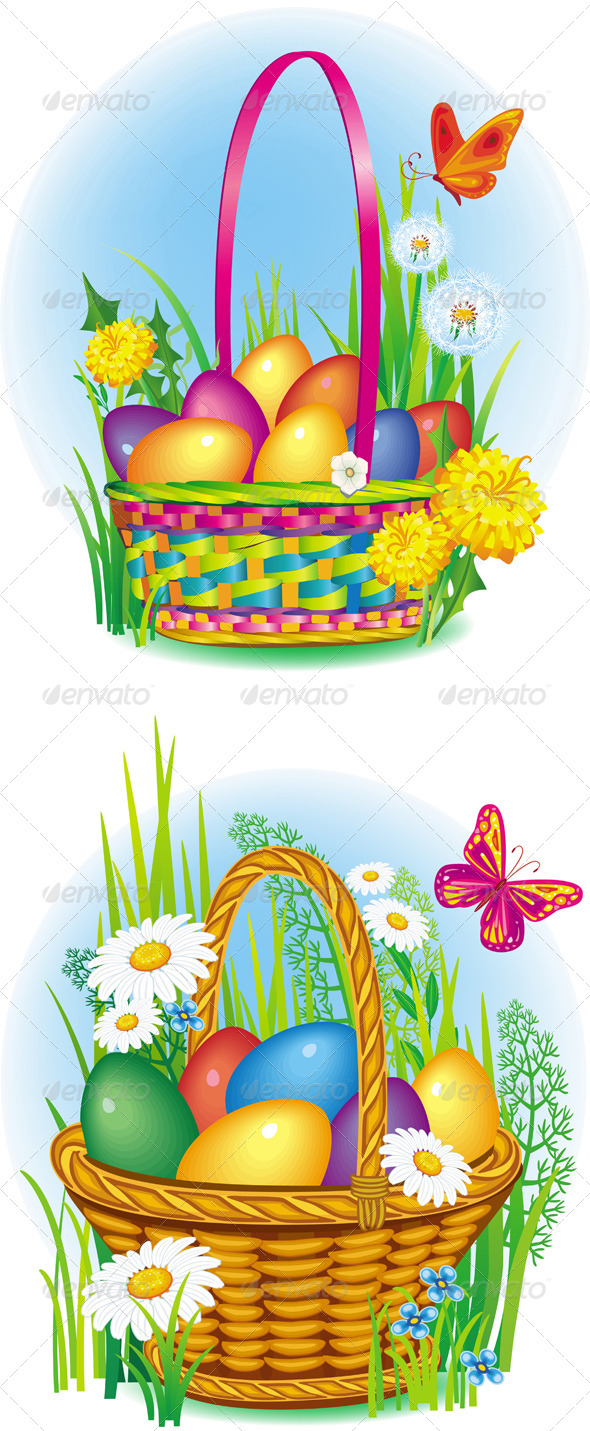 GraphicRiver Colorful Easter Eggs in Wicker Basket 6638145