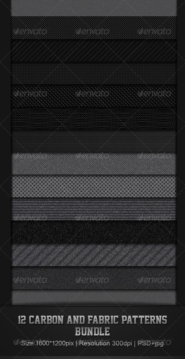 GraphicRiver 12 Fabric & Carbon Patterns Bundle 695947