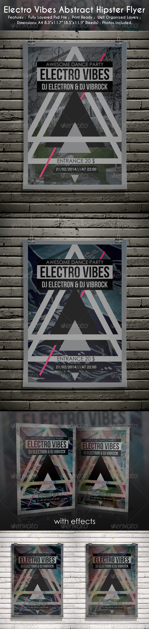 GraphicRiver Electro Vibes Abstract Hipster Flyer 6638331