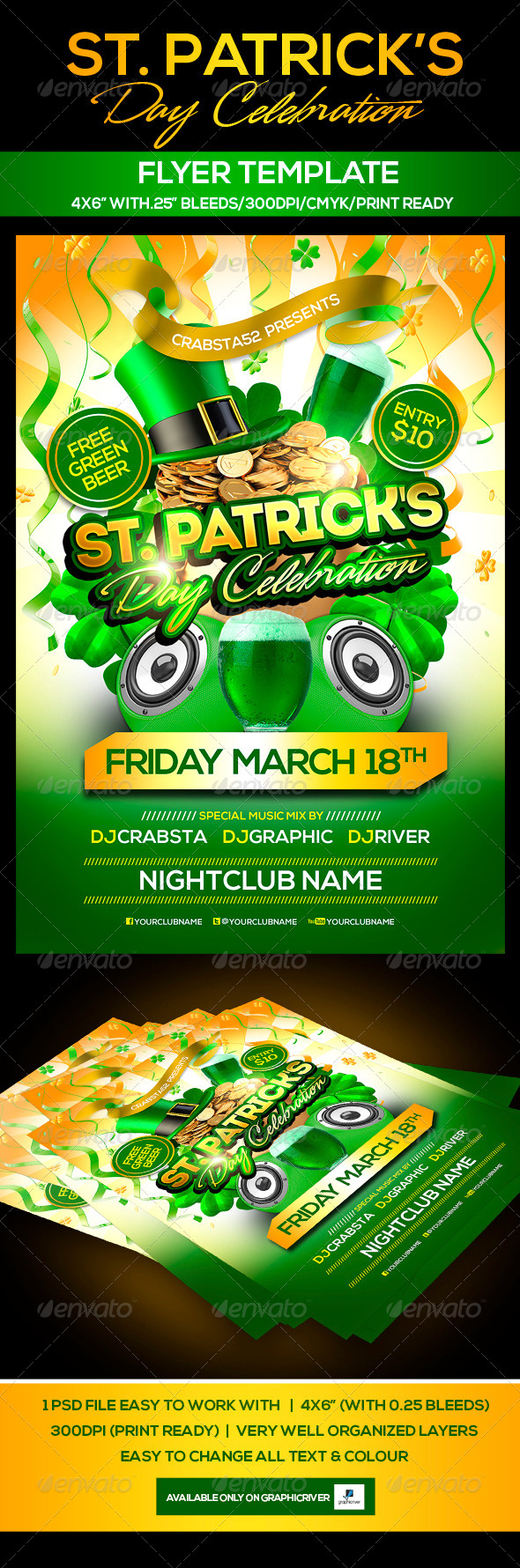 GraphicRiver St Patrick s Day Celebration Flyer Template 6638347