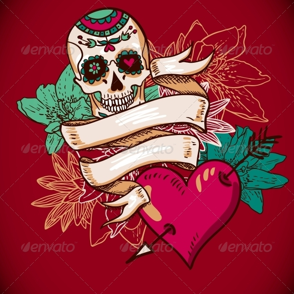 GraphicRiver Skull Hearts and Flowers Vector Illustration 6639512