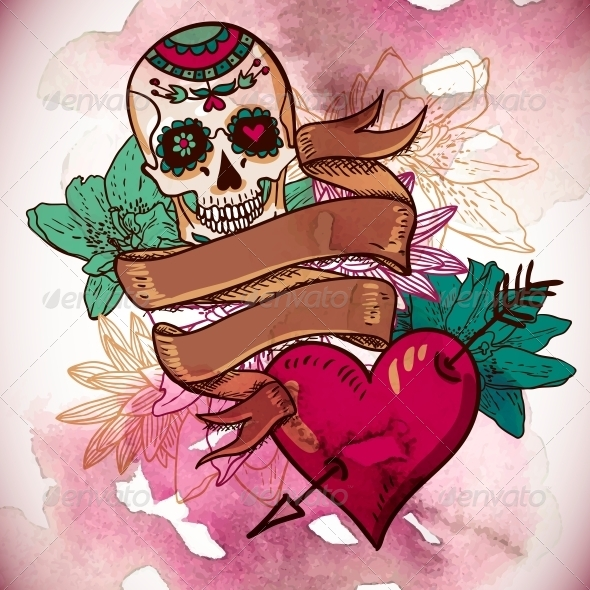 GraphicRiver Skull Hearts and Flowers Vector Illustration 6639514