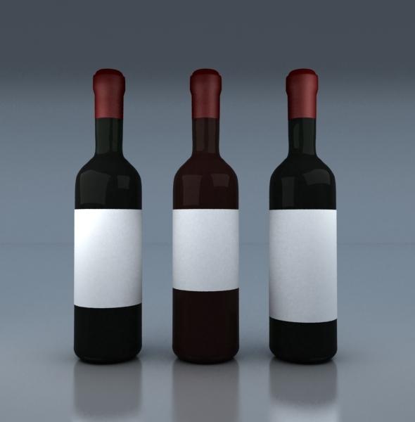 Wine Bottles - 3DOcean Item for Sale