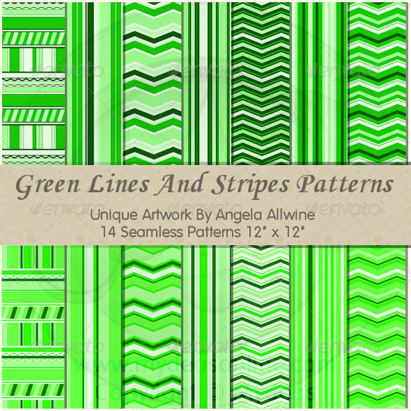 GraphicRiver Green Lines And Stripes Pattern Set 6639576