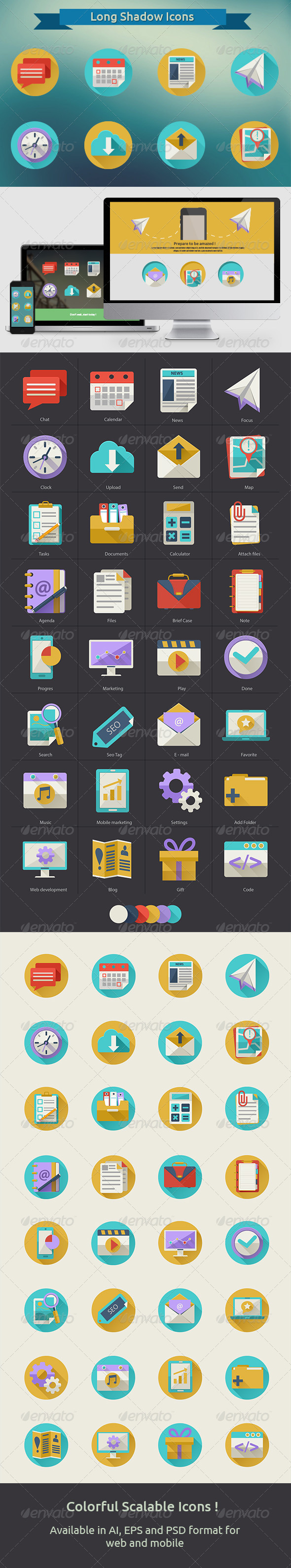 GraphicRiver Set of Flat Icons with Long Shadow 6640365