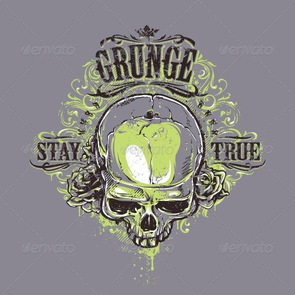 GraphicRiver Grunge Skull Print 6640369