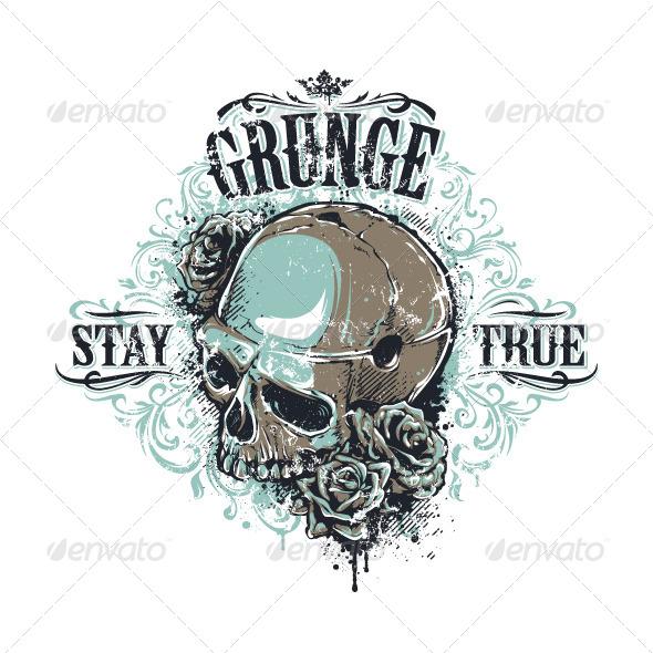 GraphicRiver Grunge Skull Print 6640374