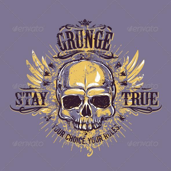 GraphicRiver Grunge Skull Print 6640379