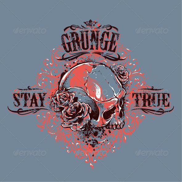 GraphicRiver Grunge Skull Print 6640386