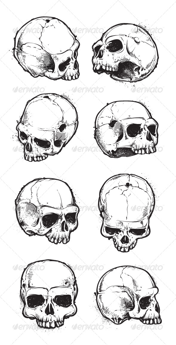 GraphicRiver Hand Drawn Skulls Set 6640409