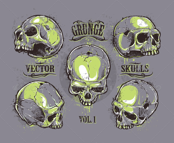 GraphicRiver Grunge Skulls Set 6640478