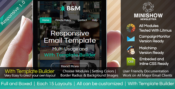 ThemeForest B&M Responsive Email With Template Builder 6640780