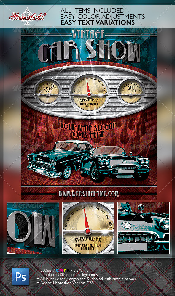 GraphicRiver Vintage Car Show Dashboard Flyer Template 6640864