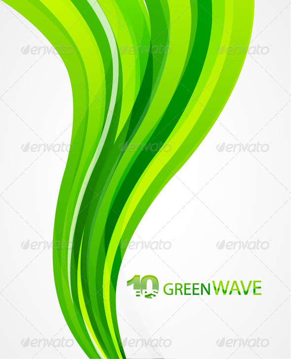 Vector green wave abstract background