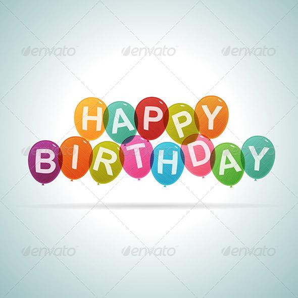 GraphicRiver Happy Birthday Text Balloons 6641152