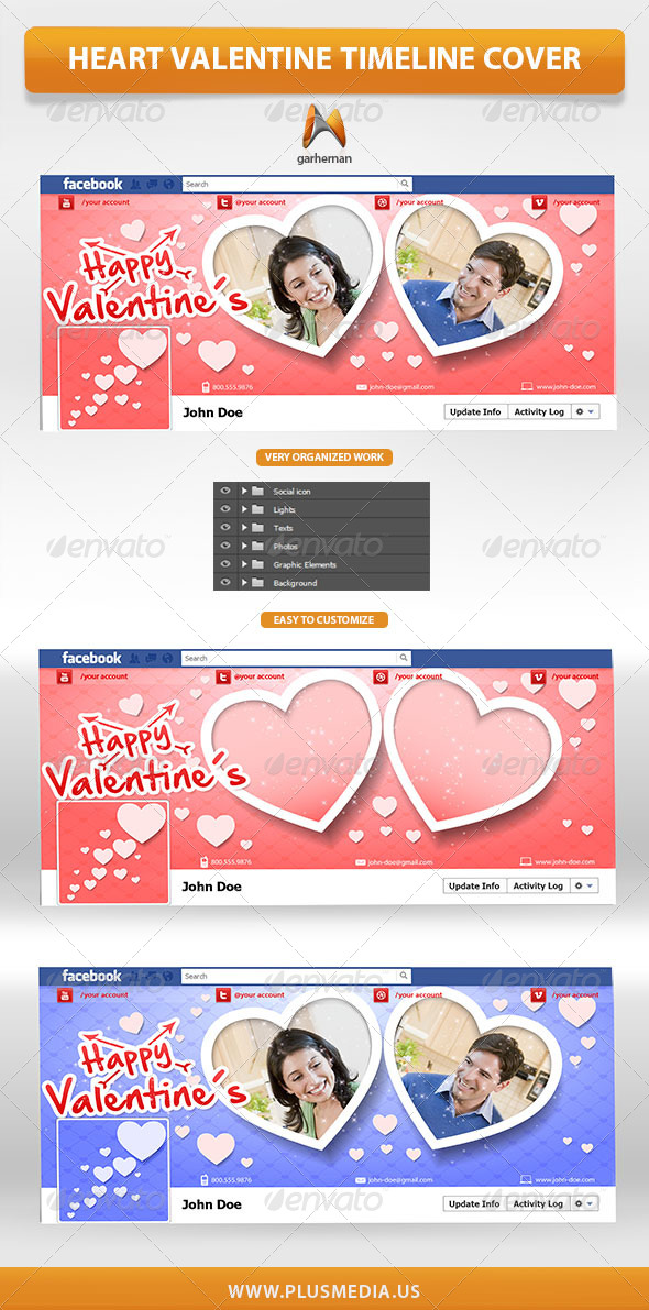 GraphicRiver Heart Valentine Timeline Cover 6641170