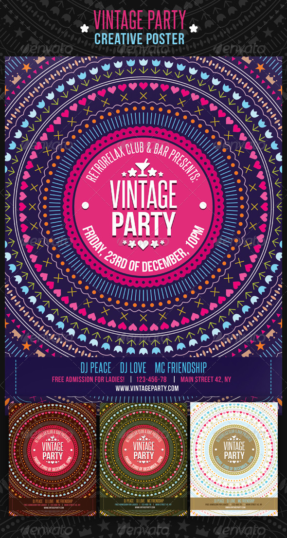 Vintage Party Creative Poster - Clubs & Parties Events