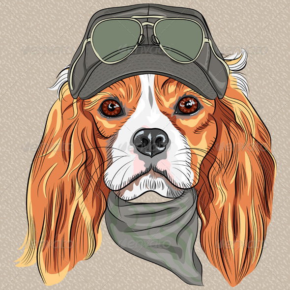 GraphicRiver Hipster Dog Cavalier King Charles Spaniel 6641334
