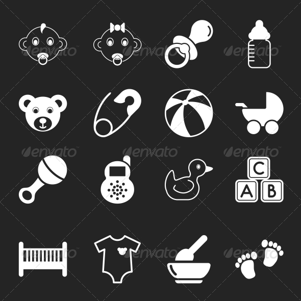 GraphicRiver White Baby Icons 6641705