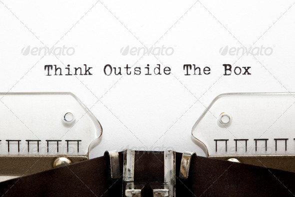 PhotoDune Think Outside The Box on Typewriter 696500