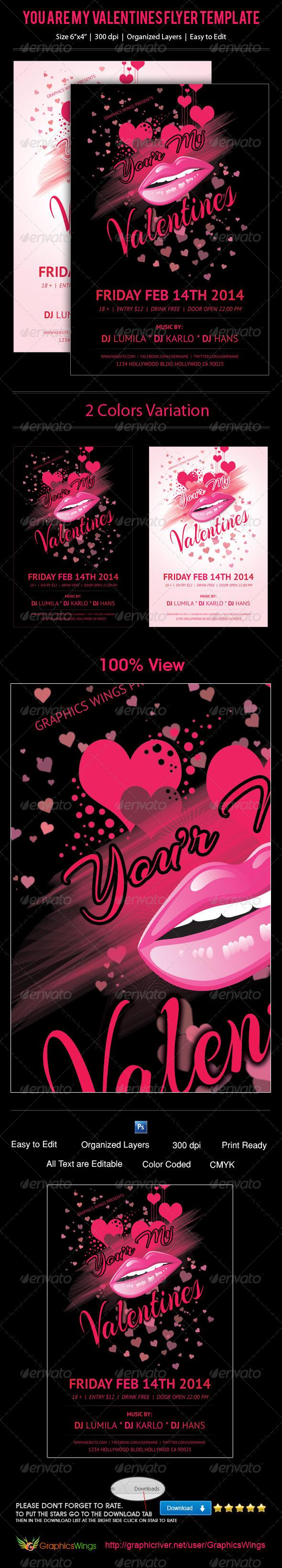 GraphicRiver You Are My Valentines Flyer Template 6642122